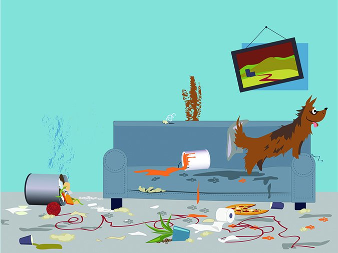 dog makes mess cartoon