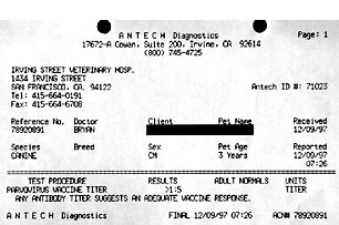 parvovirus vaccine titer test