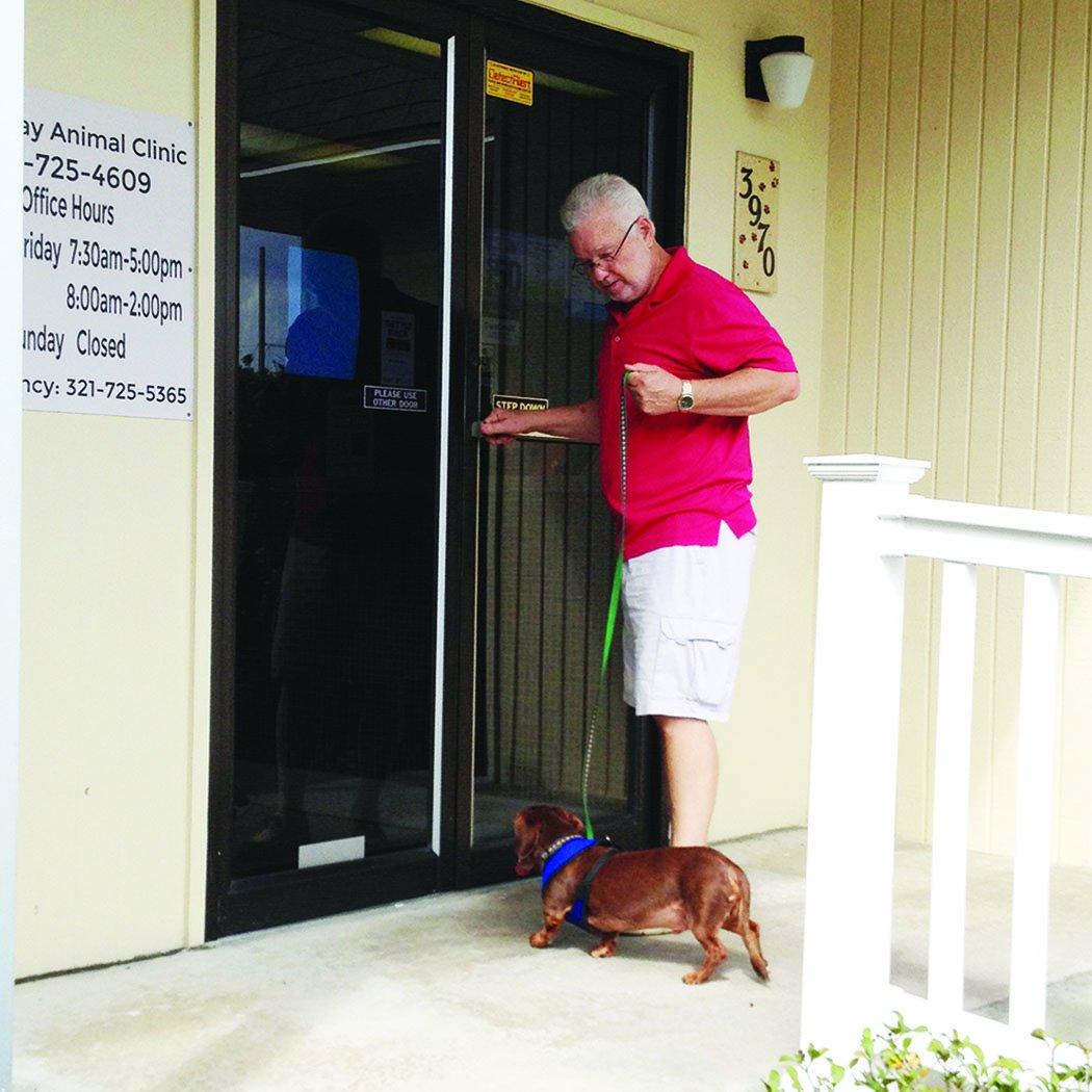 man and dog entering vet clinic