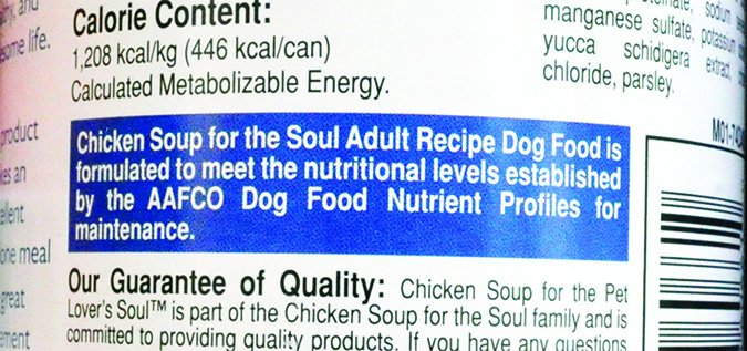 Chicken Soup for the Soul wet dog food label