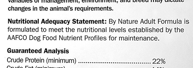 dog food label nutritional statement