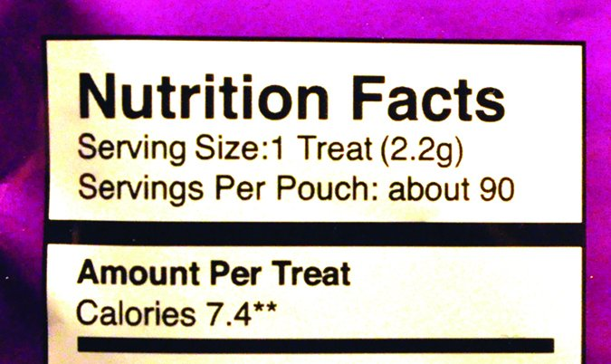 dog treat nutritional label