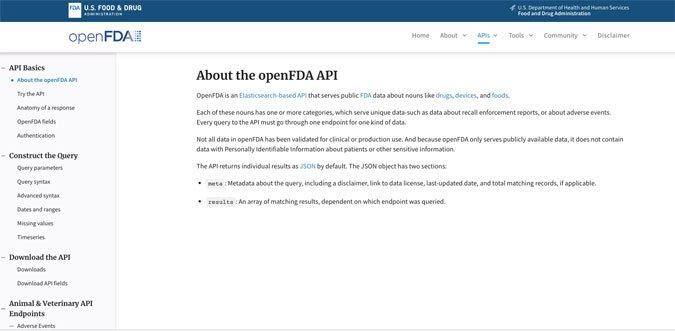openFDA database open api