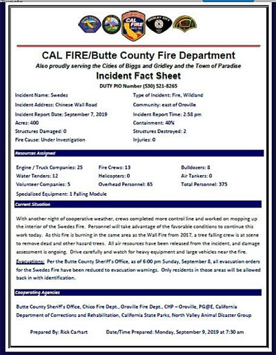 Fire incident factsheet california