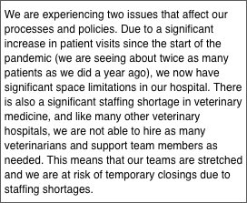 Many veterinary hospitals are suspending 24-hour emergency service